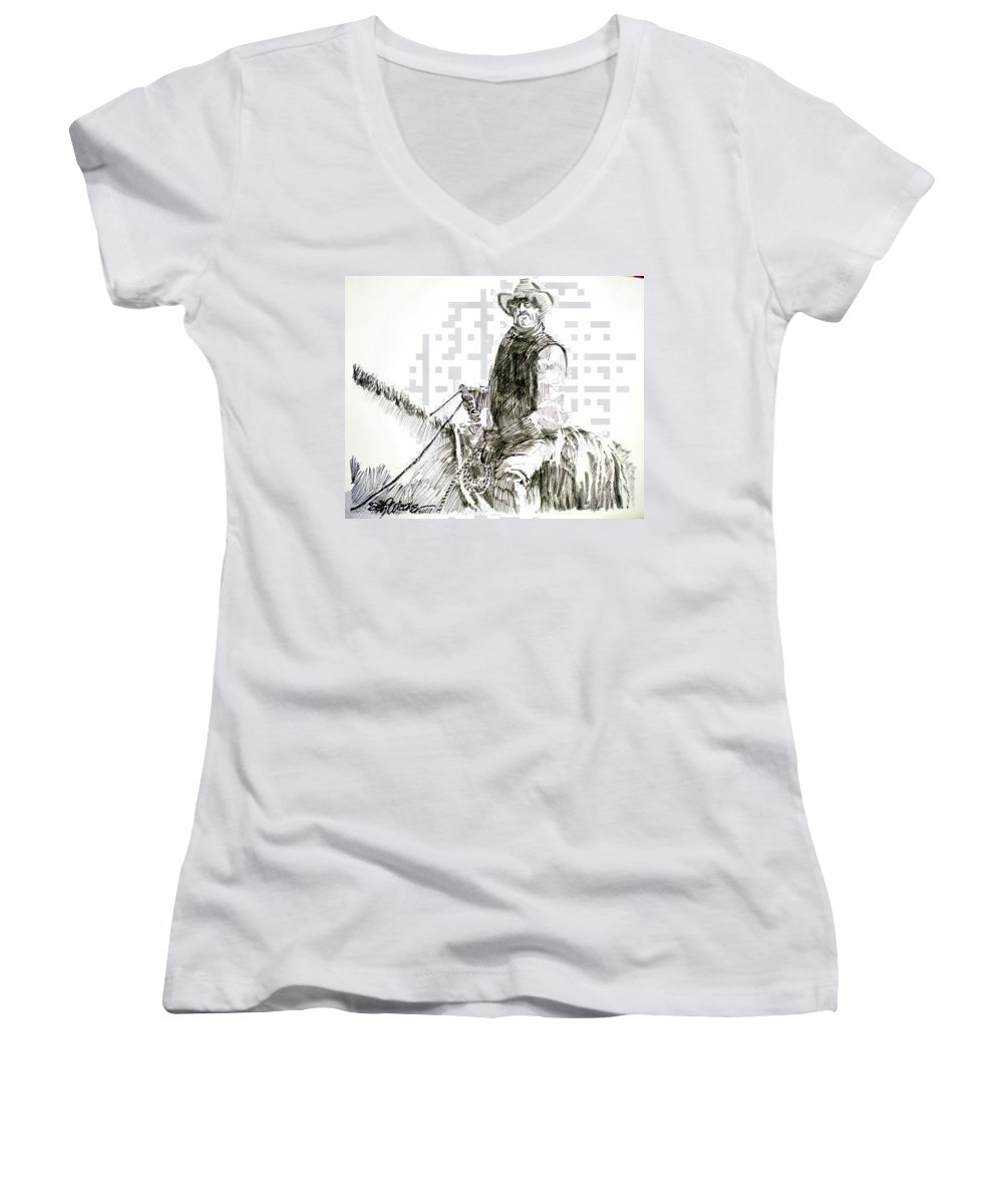 Trail Boss Women's V-Neck T-Shirt featuring the drawing Trail Boss by Seth Weaver