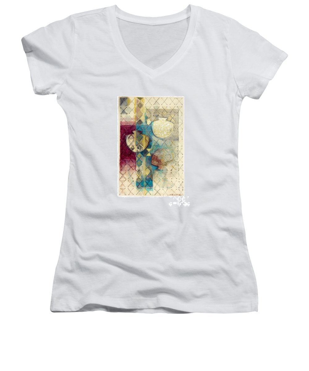 Mixed-media Women's V-Neck T-Shirt featuring the painting Trans Xs No 1 by Kerryn Madsen- Pietsch