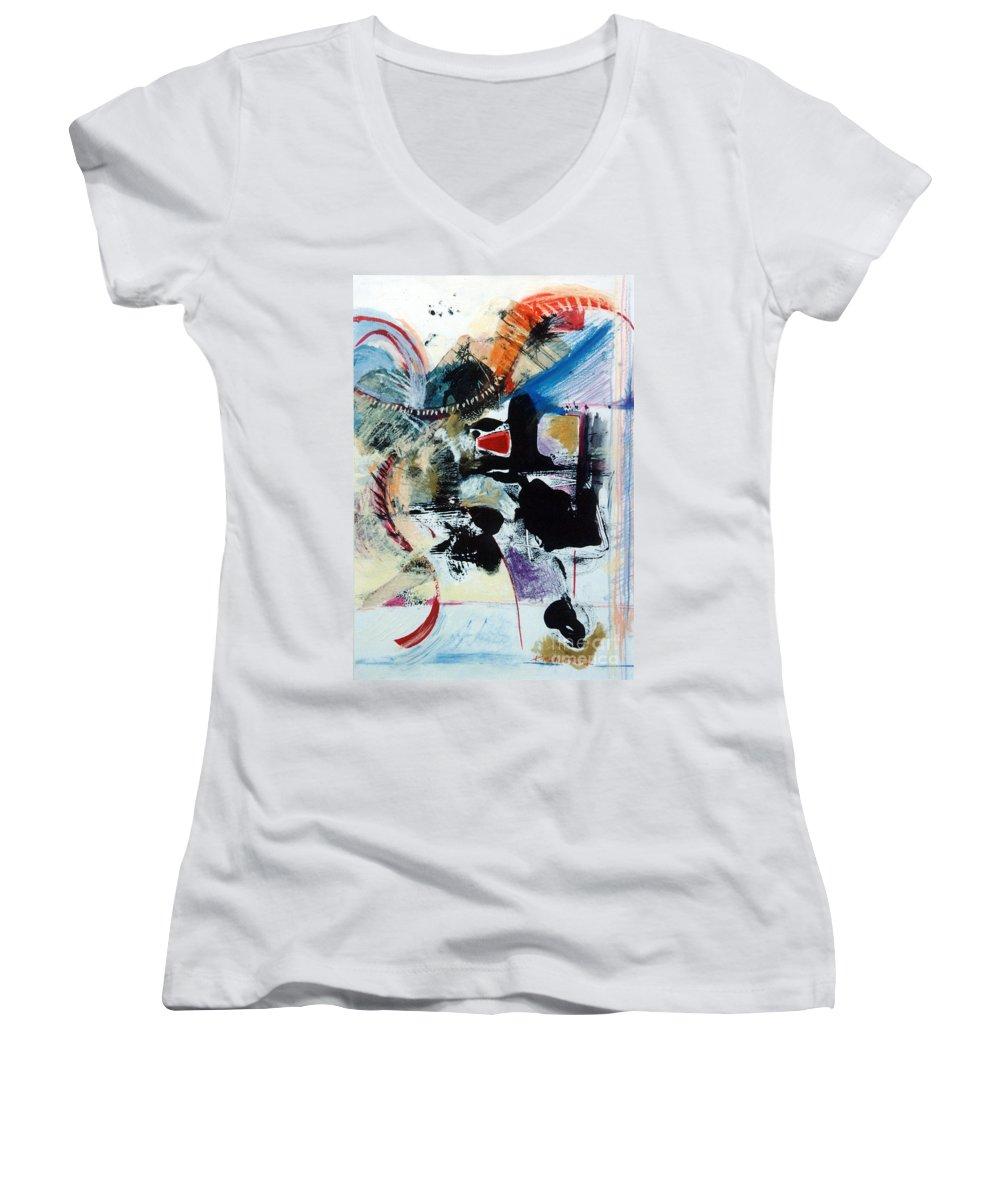 Transcendance Women's V-Neck T-Shirt featuring the drawing Transcendance by Kerryn Madsen-Pietsch