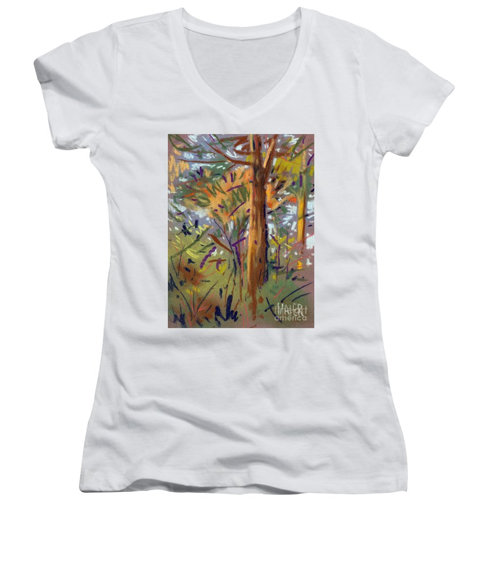 Trees Women's V-Neck (Athletic Fit) featuring the drawing Tree Sketch by Donald Maier