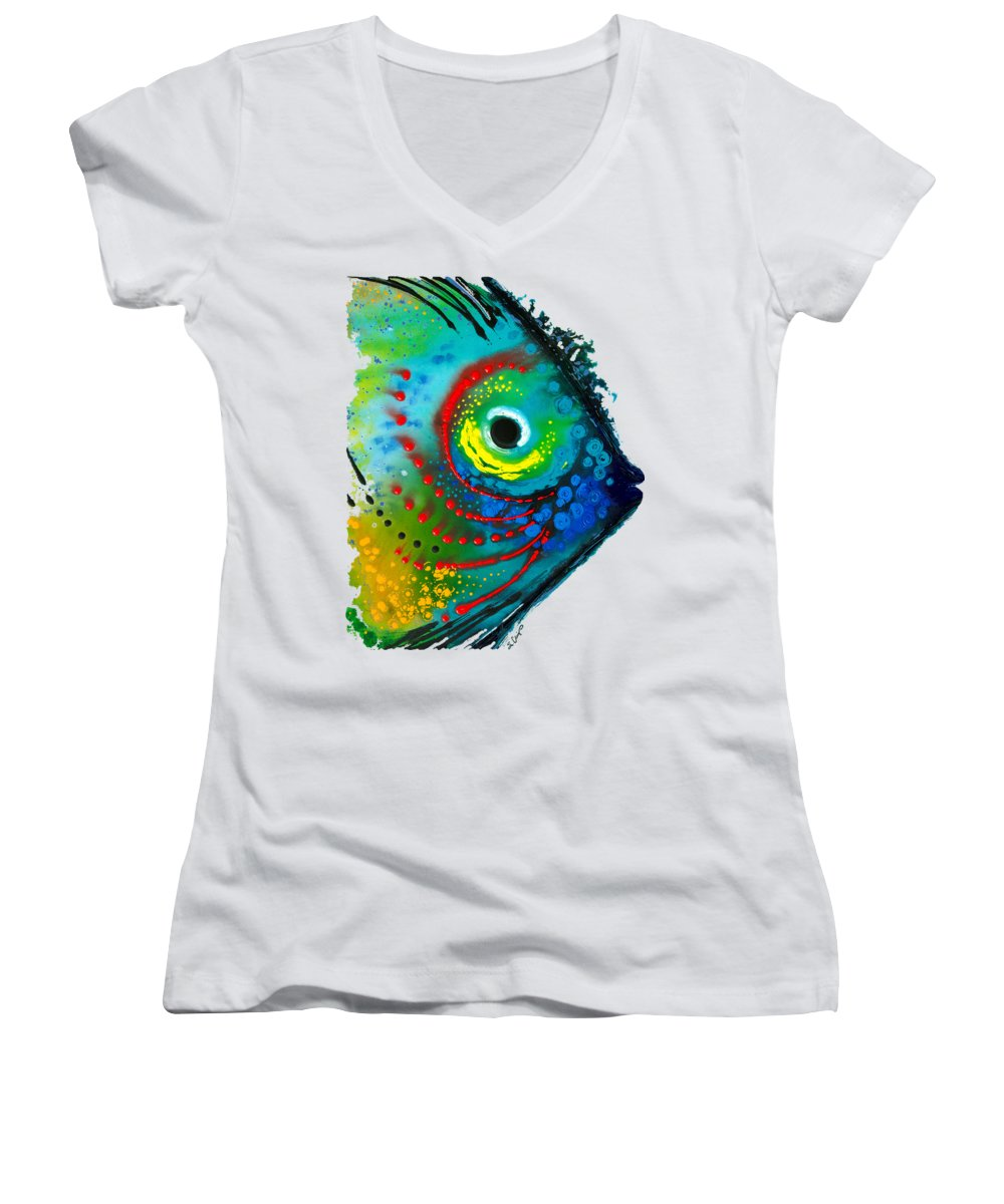 Sharon Cummings Women's V-Neck featuring the painting Tropical Fish - Art By Sharon Cummings by Sharon Cummings
