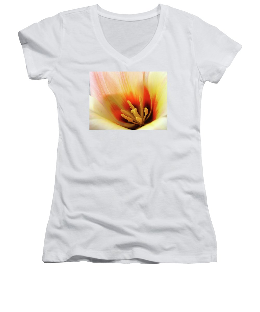 �tulips Artwork� Women's V-Neck (Athletic Fit) featuring the photograph Tulip Flower Artwork 31 Tulips Flowers Macro Spring Floral Art Prints by Baslee Troutman