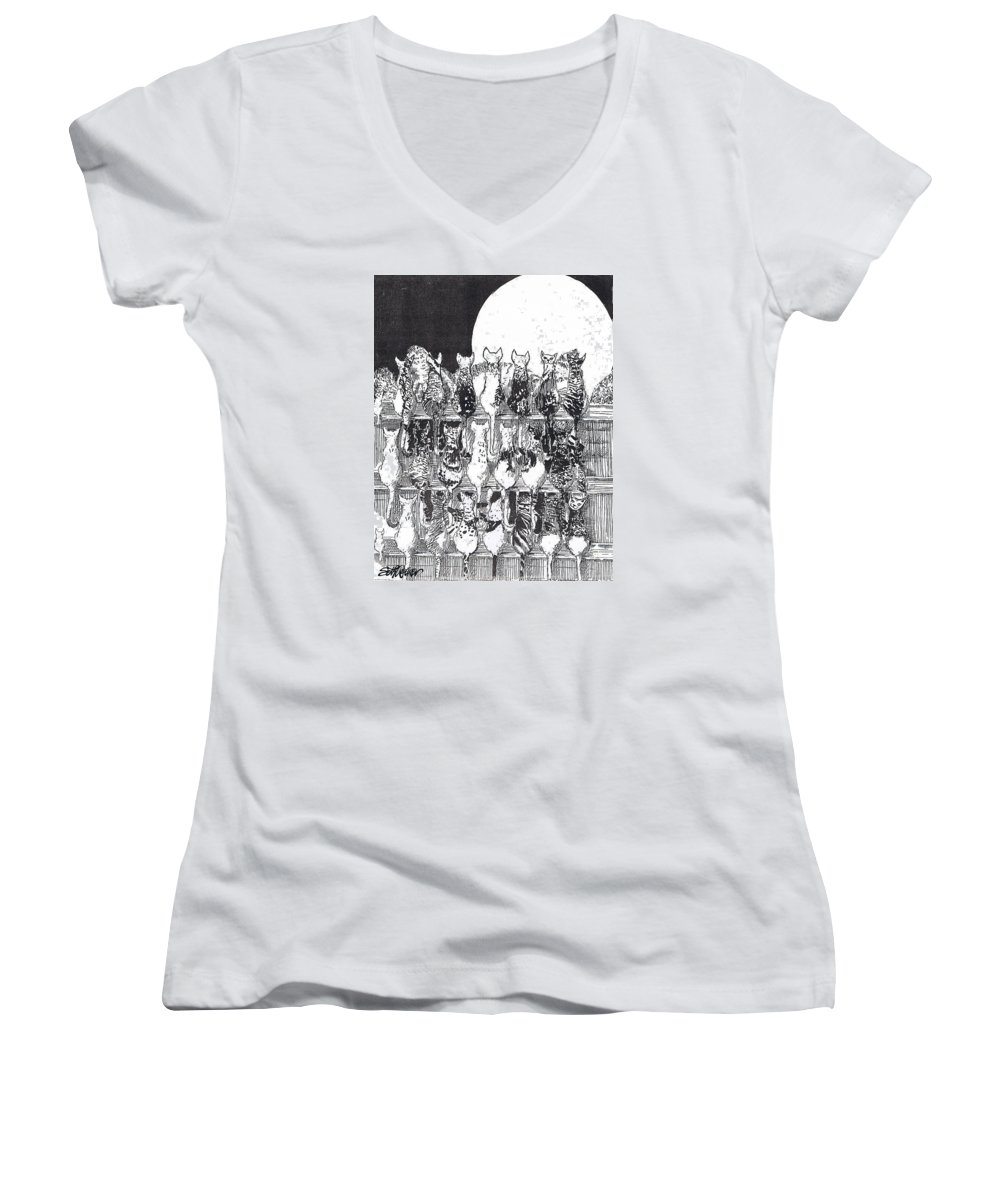 Cats Women's V-Neck (Athletic Fit) featuring the drawing Two Dozen And One Cats by Seth Weaver