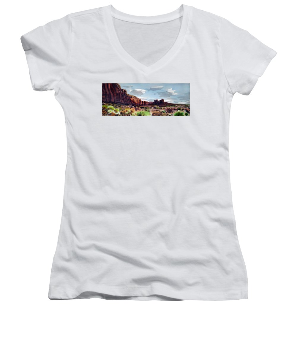 Horses Women's V-Neck (Athletic Fit) featuring the painting Two Mustangs by Donald Maier