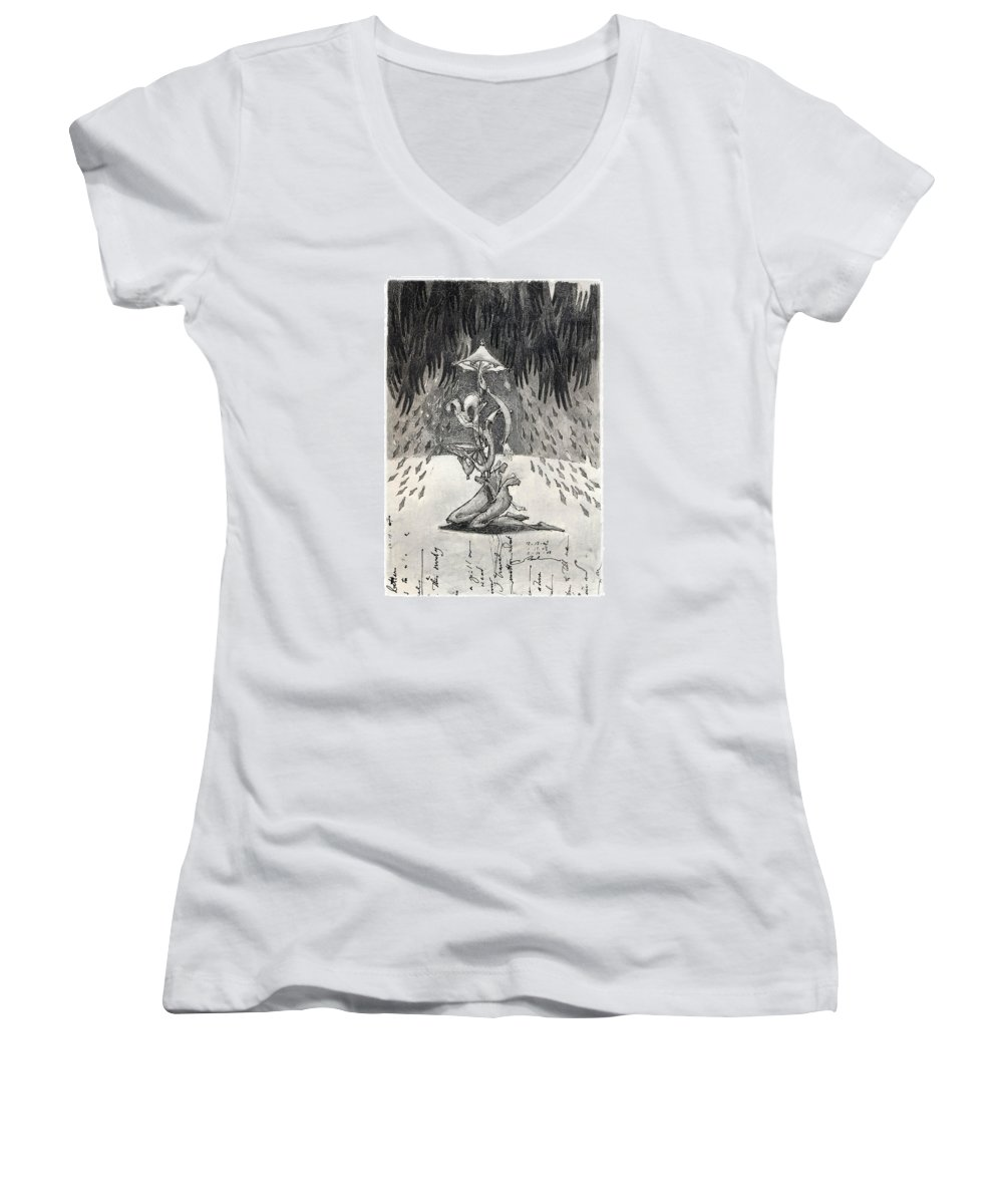 Umbrella Women's V-Neck (Athletic Fit) featuring the drawing Umbrella Moon by Juel Grant