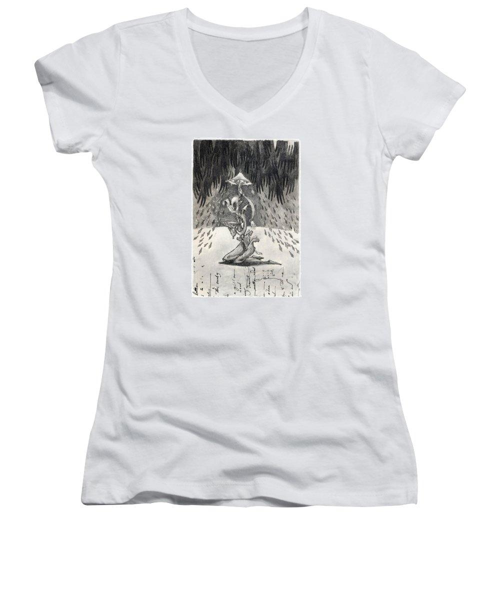Umbrella Women's V-Neck T-Shirt featuring the drawing Umbrella Moon by Juel Grant