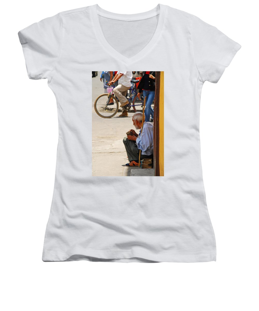 Beggar Women's V-Neck (Athletic Fit) featuring the photograph Un Peso Por Favor by Skip Hunt