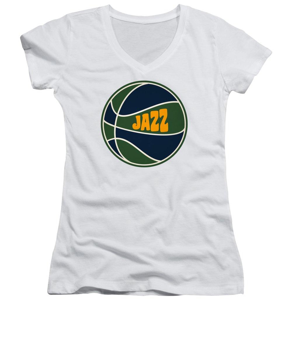 Jazz Women's V-Neck featuring the photograph Utah Jazz Retro Shirt by Joe Hamilton