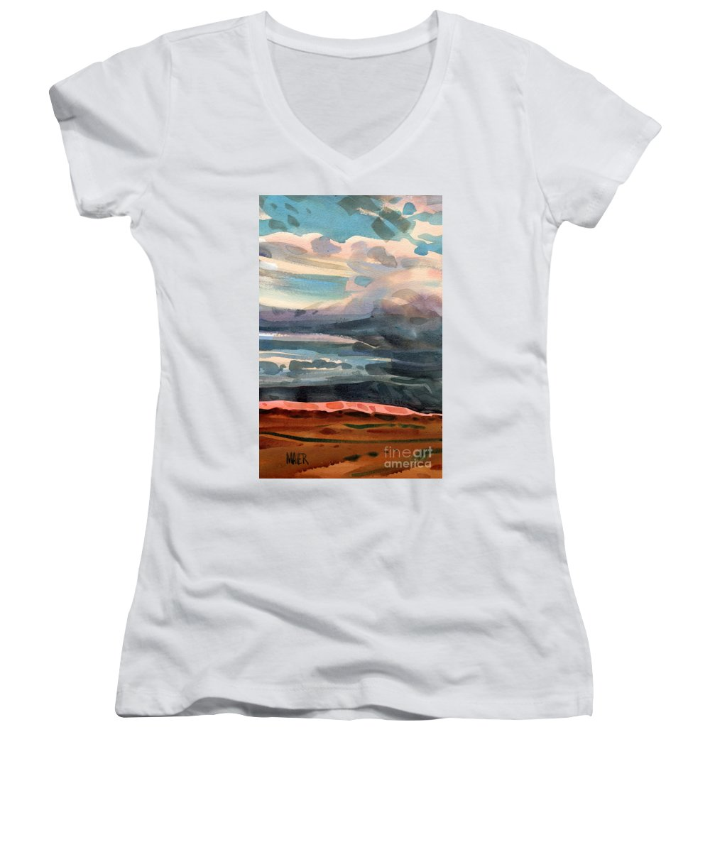 Western Landscape Women's V-Neck T-Shirt featuring the painting Utah Skyline by Donald Maier