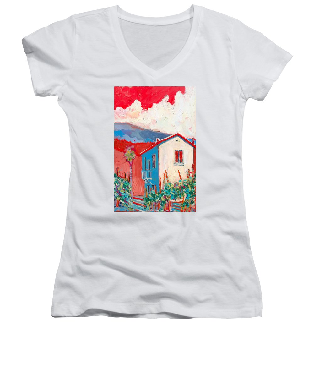 Tuscany Women's V-Neck (Athletic Fit) featuring the painting Vecchio Casa by Kurt Hausmann
