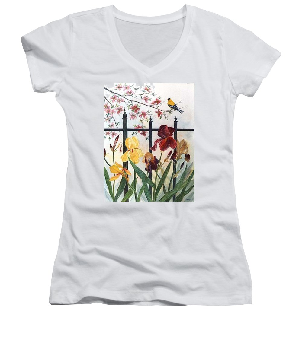 Irises; American Goldfinch; Dogwood Tree Women's V-Neck T-Shirt featuring the painting Victorian Garden by Ben Kiger
