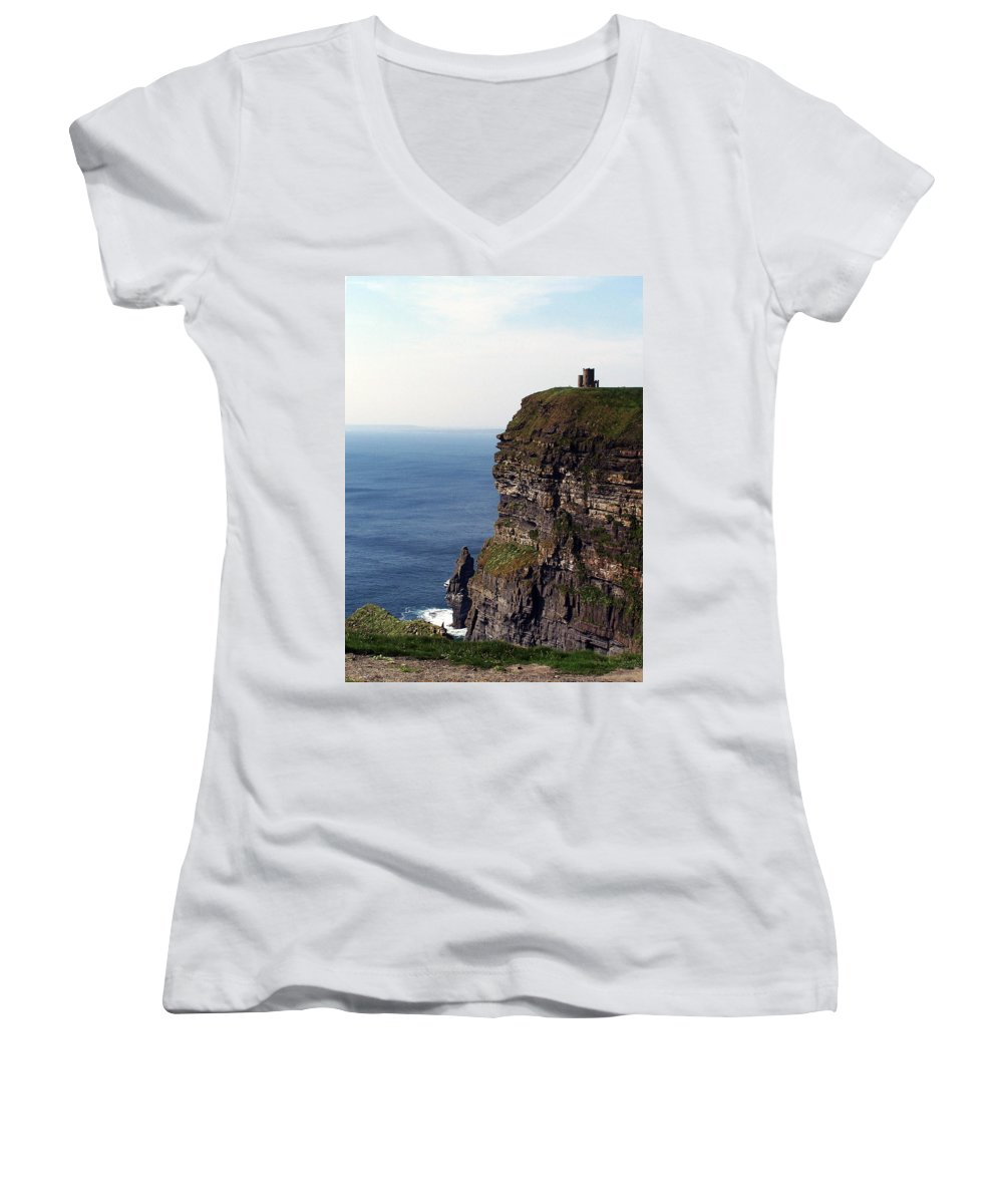 Irish Women's V-Neck T-Shirt featuring the photograph View Of Aran Islands And Cliffs Of Moher County Clare Ireland by Teresa Mucha