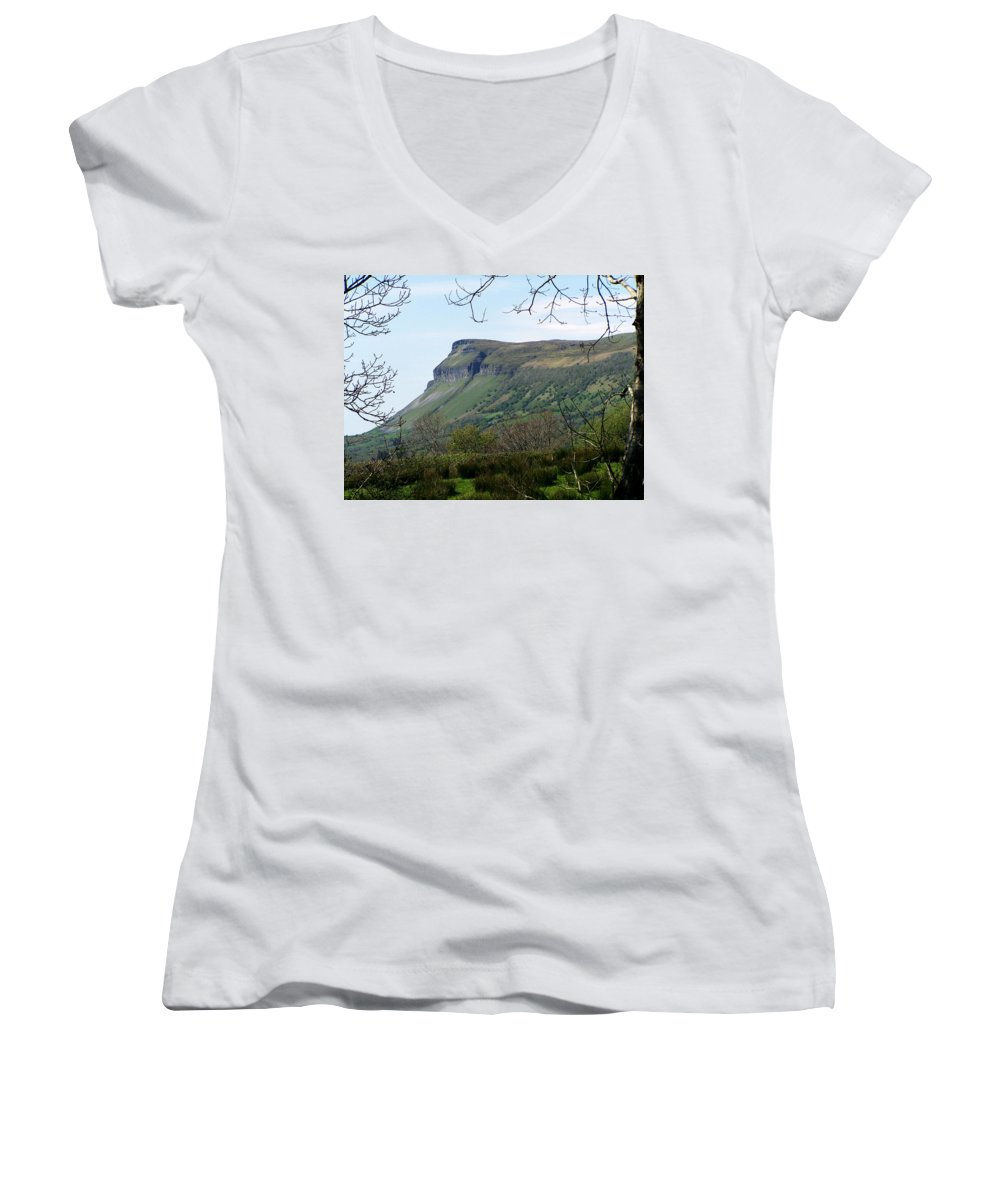 Irish Women's V-Neck (Athletic Fit) featuring the photograph View Of Benbulben From Glencar Lake Ireland by Teresa Mucha