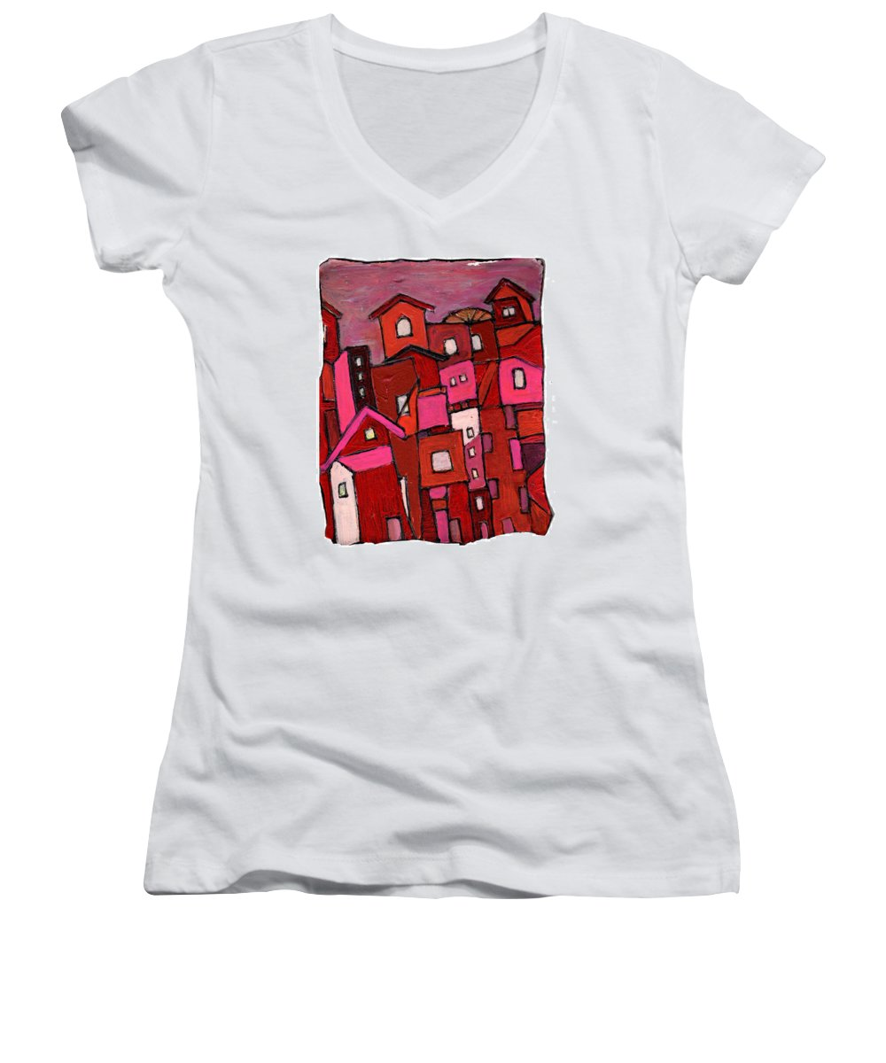 Village Women's V-Neck T-Shirt featuring the painting Village In Pink by Wayne Potrafka