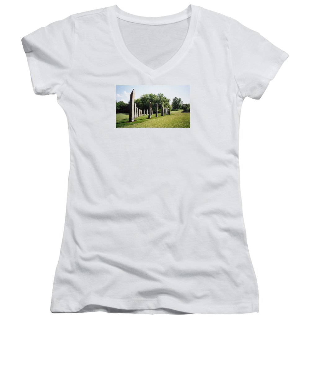 Historic Sculpture From 1999 Women's V-Neck T-Shirt featuring the sculpture Vinland by Jarle Rosseland