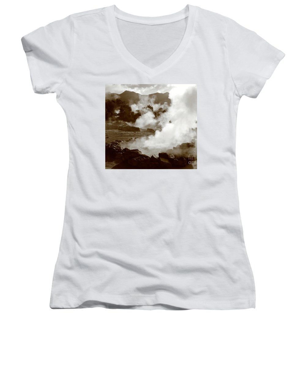 Azores Women's V-Neck T-Shirt featuring the photograph Volcanic Steam by Gaspar Avila