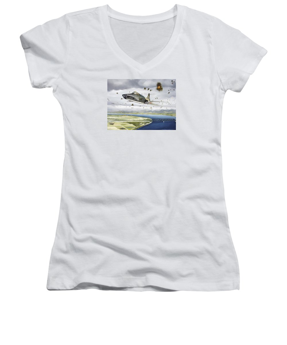Military Women's V-Neck (Athletic Fit) featuring the painting Voodoo Vs The Dragon by Marc Stewart