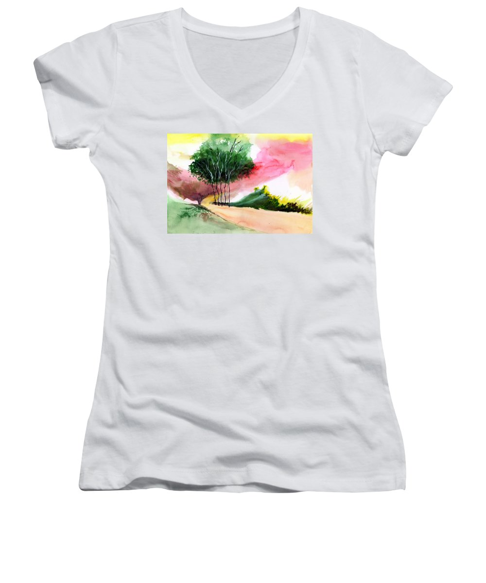 Watercolor Women's V-Neck T-Shirt featuring the painting Walk Away by Anil Nene