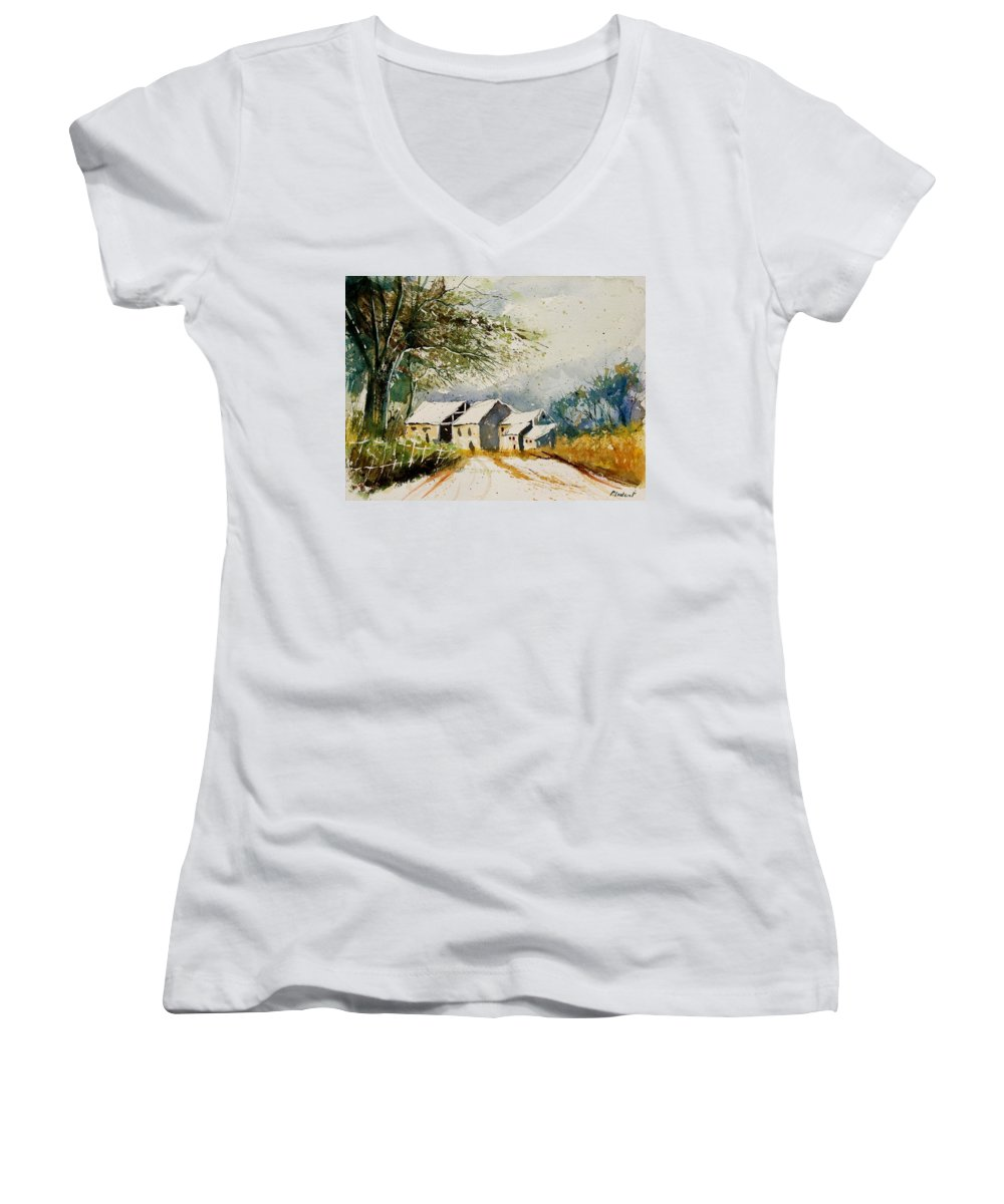 Landscape Women's V-Neck T-Shirt featuring the painting Watercolor 010708 by Pol Ledent