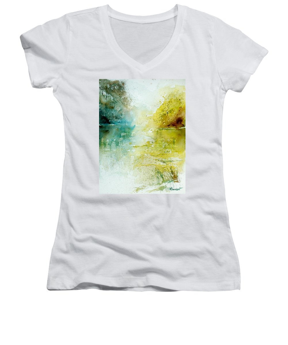 Pond Nature Landscape Women's V-Neck (Athletic Fit) featuring the painting Watercolor 24465 by Pol Ledent