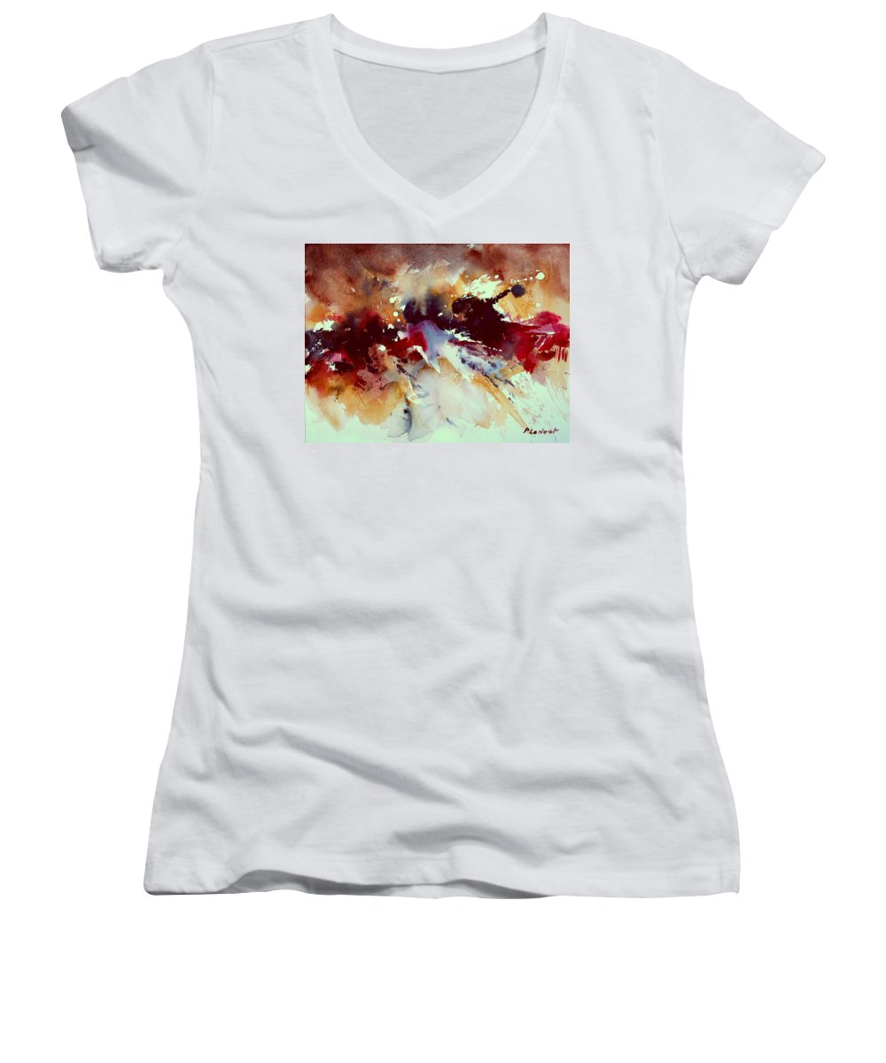 Abstract Women's V-Neck T-Shirt featuring the painting Watercolor 301107 by Pol Ledent