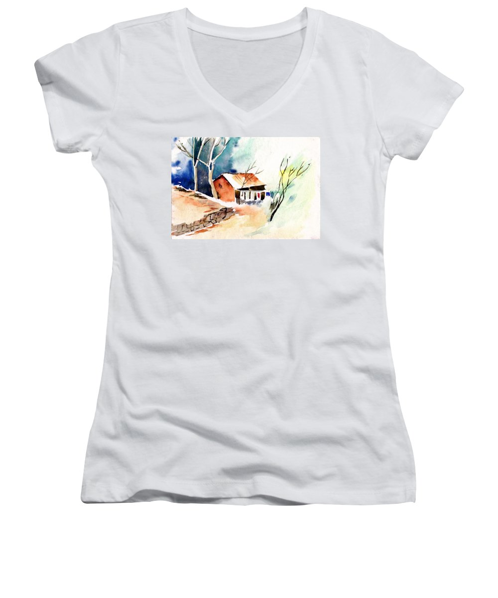 Nature Women's V-Neck (Athletic Fit) featuring the painting Weekend House by Anil Nene