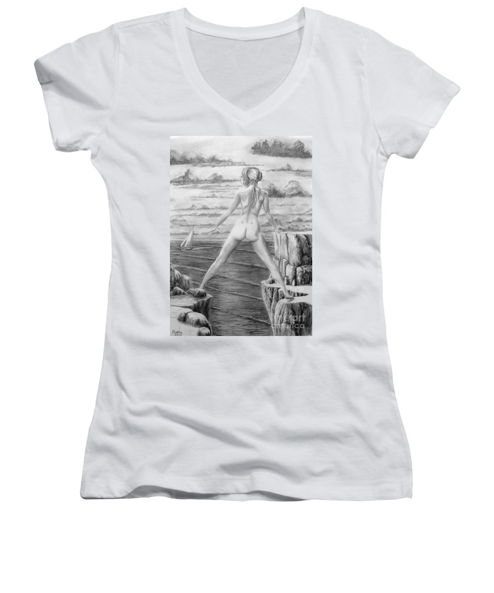 Nude Women's V-Neck (Athletic Fit) featuring the drawing Wendy From Memory. by Murphy Elliott