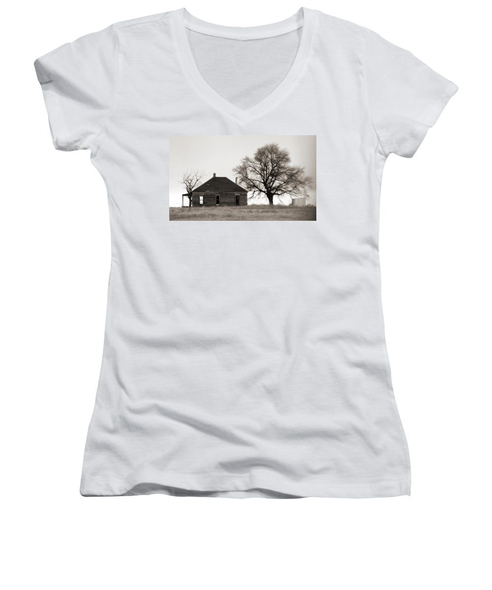 Texas Women's V-Neck T-Shirt featuring the photograph West Texas Winter by Marilyn Hunt
