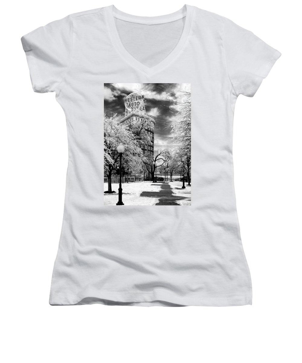 Western Auto Kansas City Women's V-Neck T-Shirt (Junior Cut) featuring the photograph Western Auto In Winter by Steve Karol
