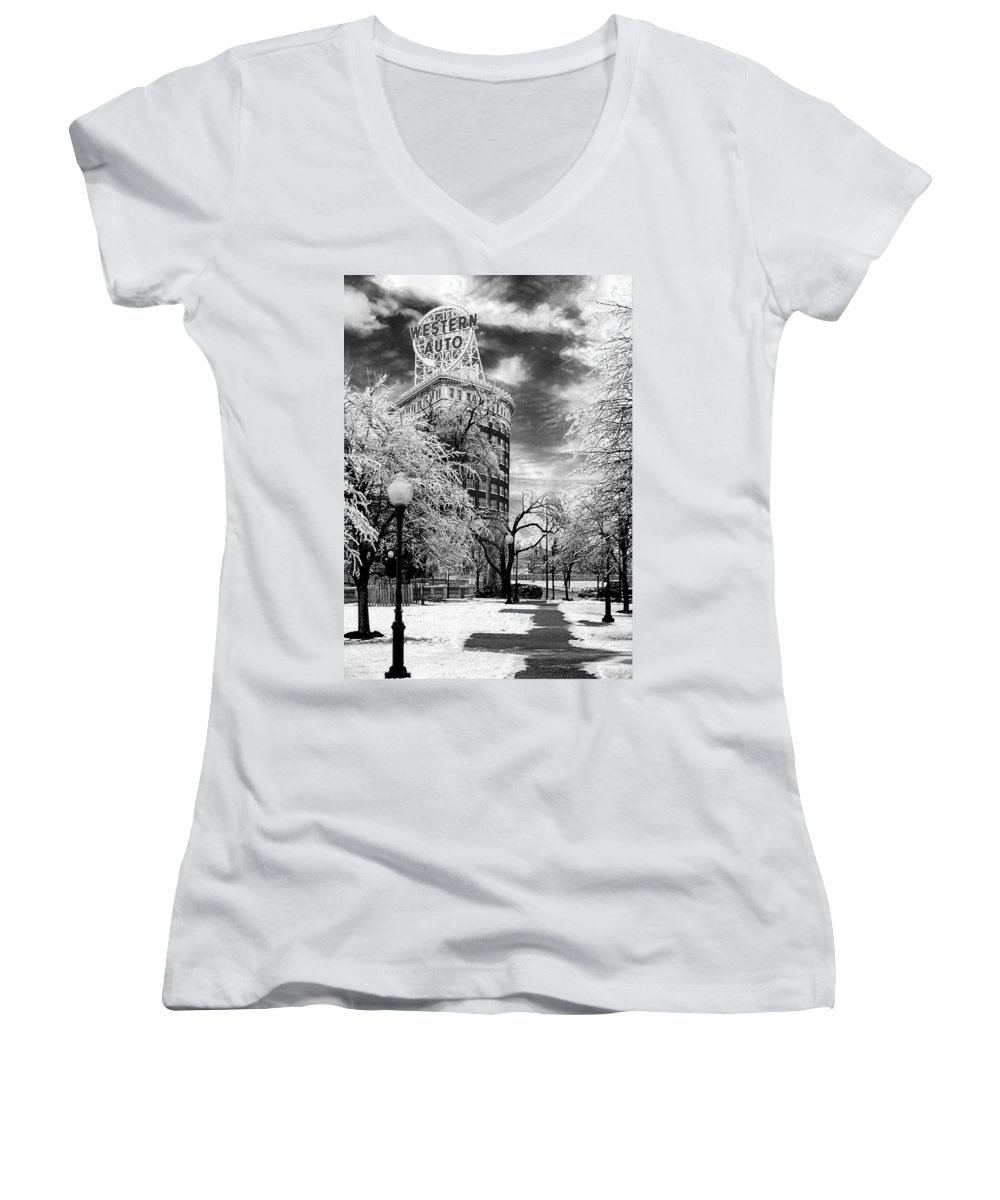 Western Auto Kansas City Women's V-Neck T-Shirt featuring the photograph Western Auto In Winter by Steve Karol