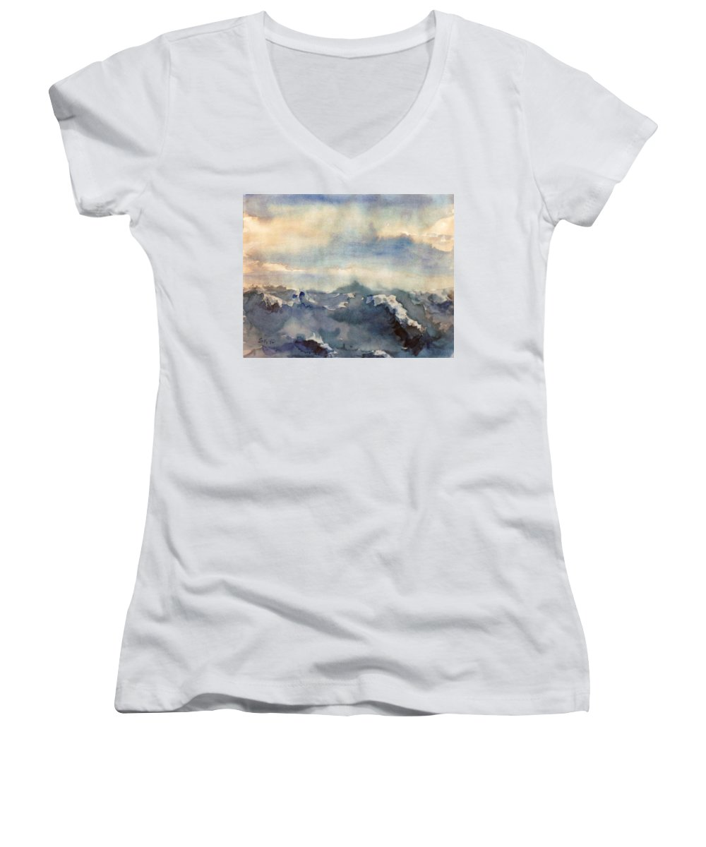 Seascape Women's V-Neck T-Shirt featuring the painting Where Sky Meets Ocean by Steve Karol