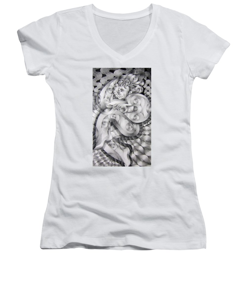 Art Women's V-Neck T-Shirt featuring the drawing Whim by Myron Belfast
