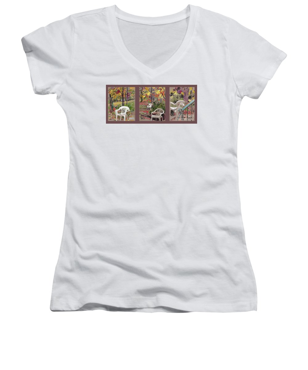 Pastel Women's V-Neck T-Shirt featuring the drawing White Chairs And Birdhouses 1 by Donald Maier