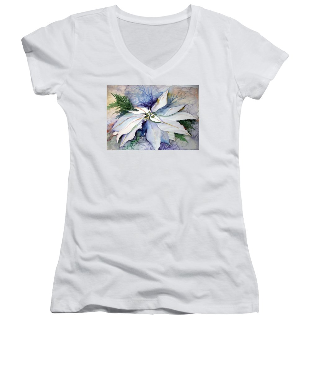 Floral Women's V-Neck T-Shirt featuring the painting White Poinsettia by Mindy Newman