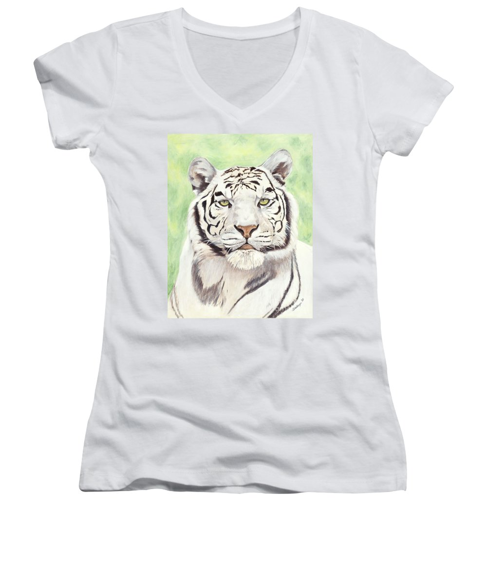 Tiger Women's V-Neck T-Shirt featuring the painting White Silence by Shawn Stallings