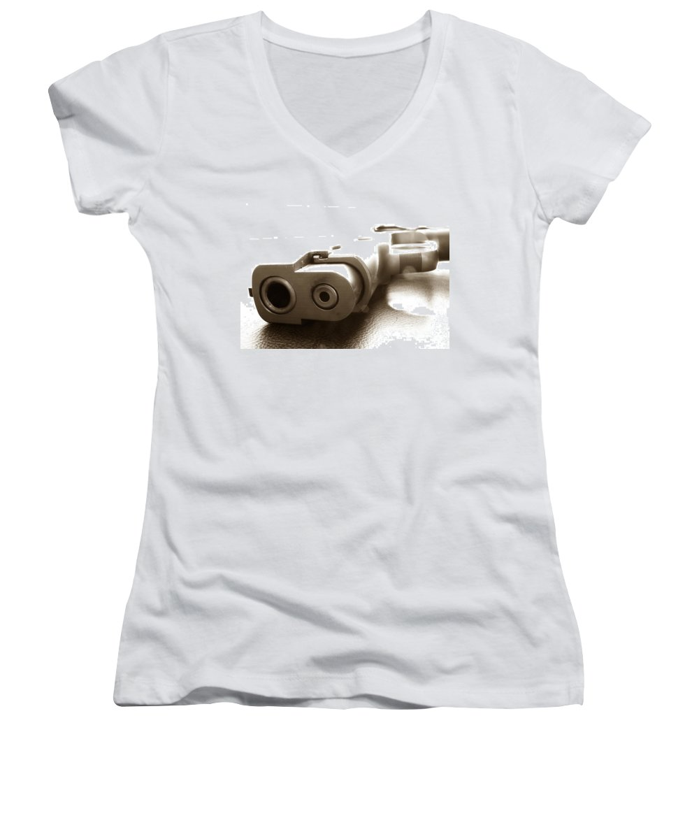Gun Women's V-Neck T-Shirt featuring the photograph Why by Amanda Barcon