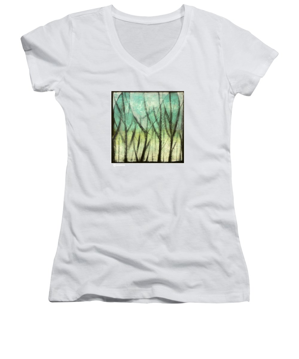 Trees Women's V-Neck T-Shirt featuring the painting Winter Into Spring by Tim Nyberg