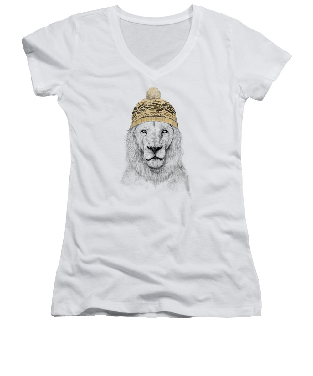 Lion Women's V-Neck featuring the mixed media Winter Is Coming by Balazs Solti
