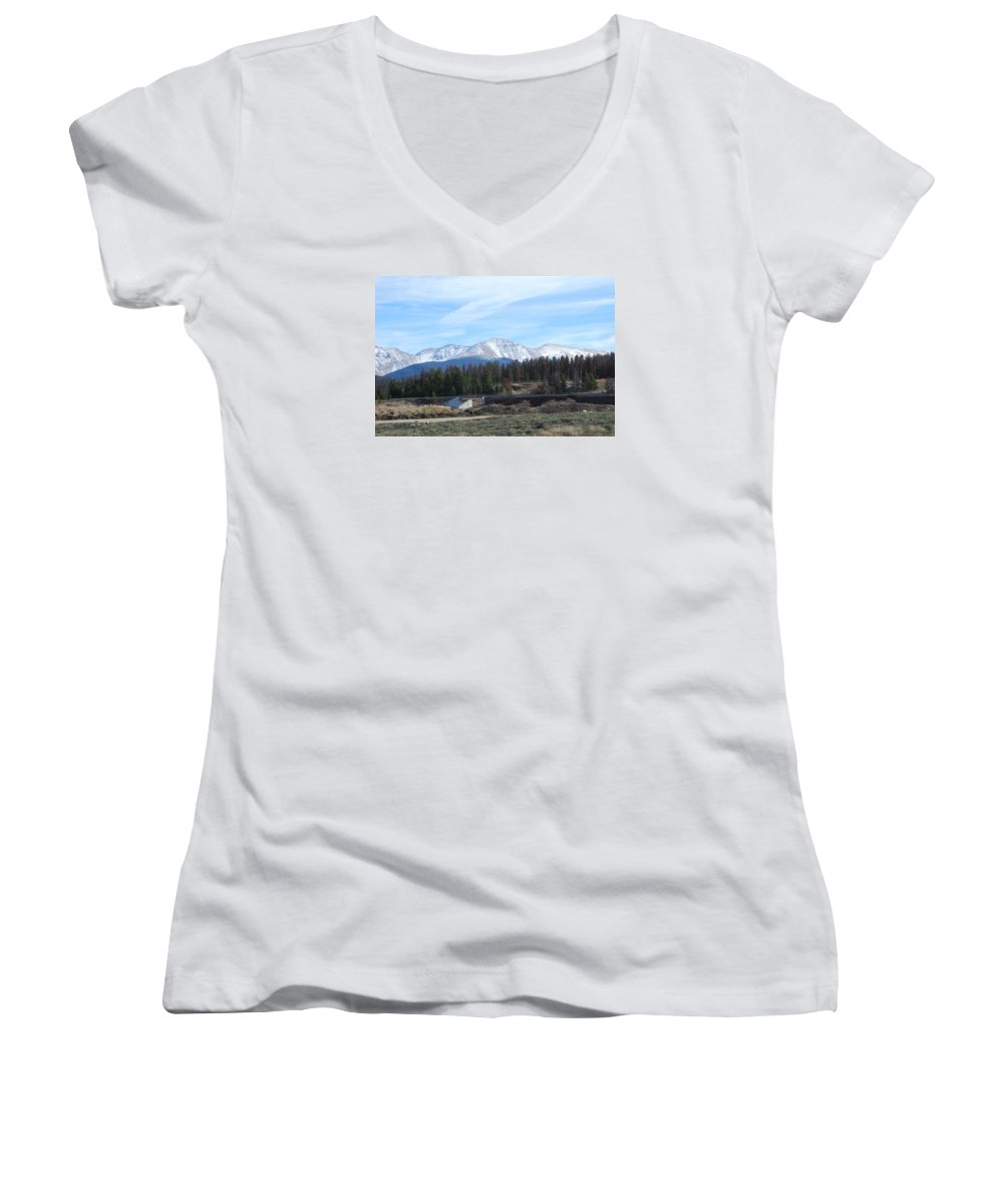 Colorado Women's V-Neck T-Shirt featuring the photograph Winter Park Colorado by Margaret Fortunato