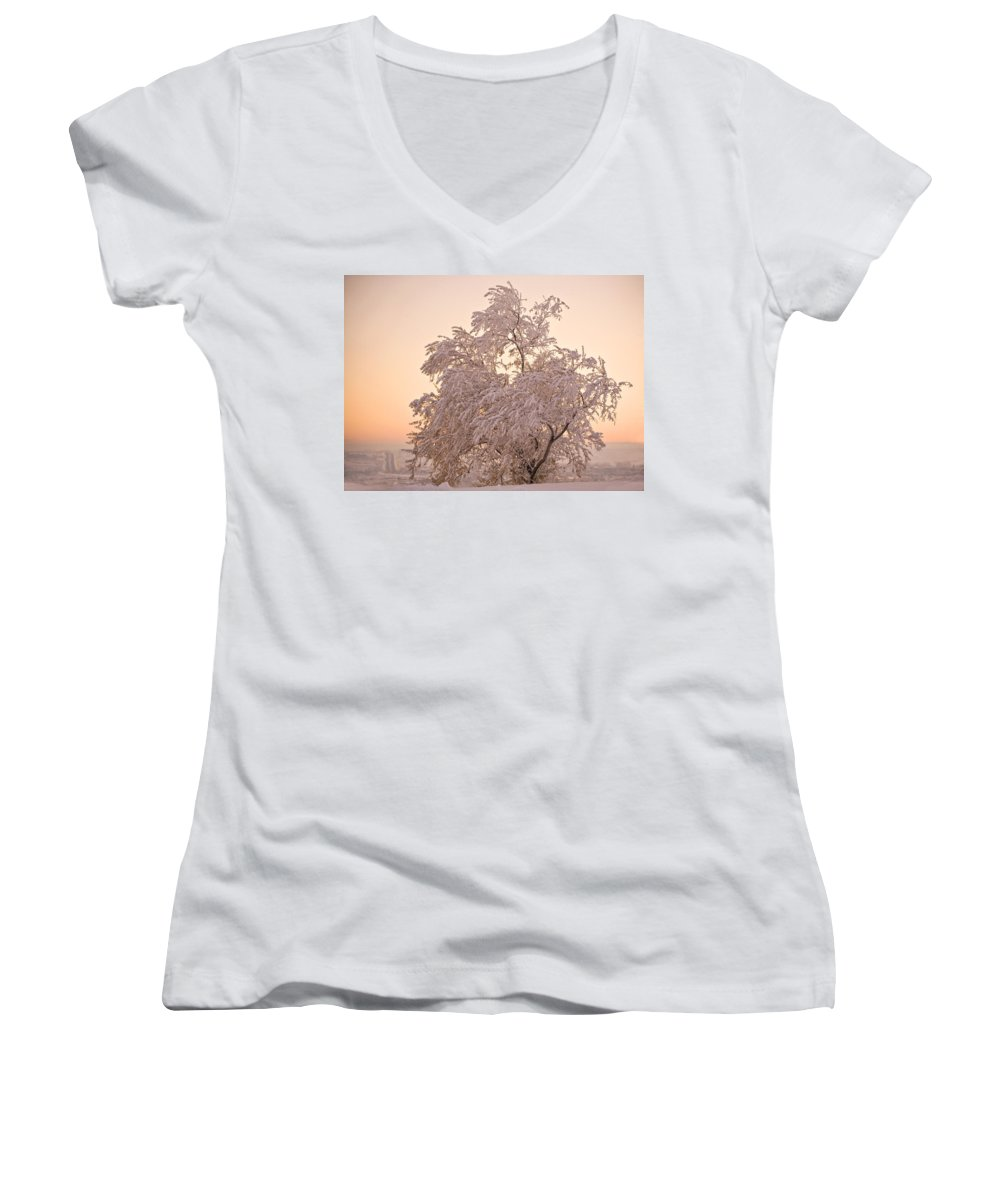 Winter Women's V-Neck T-Shirt featuring the photograph Winter Sunset by Marilyn Hunt
