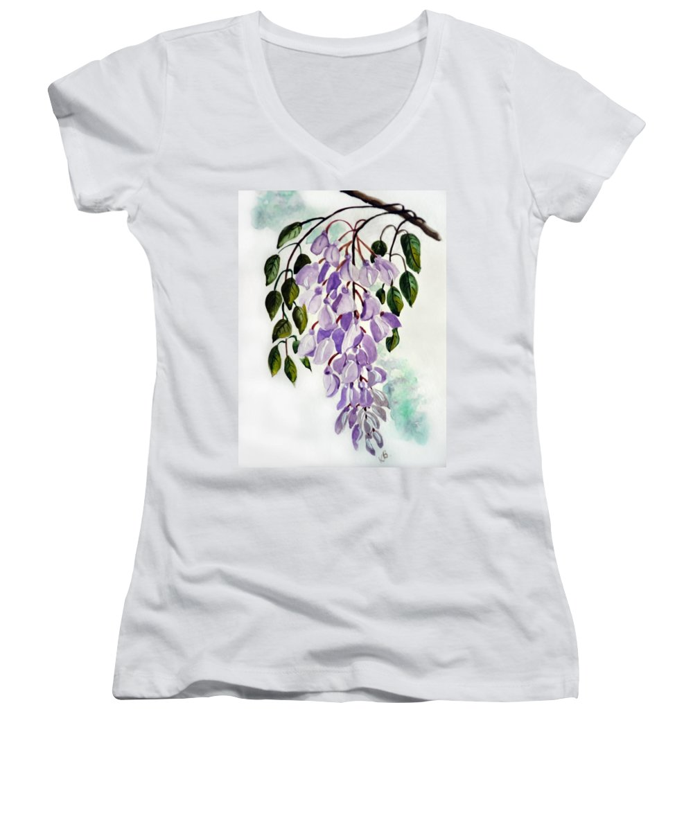 Floral Paintings Flower Paintings Wisteria Paintings Botanical Paintings Flower Purple Paintings Greeting Card Paintings  Women's V-Neck (Athletic Fit) featuring the painting Wisteria by Karin Dawn Kelshall- Best