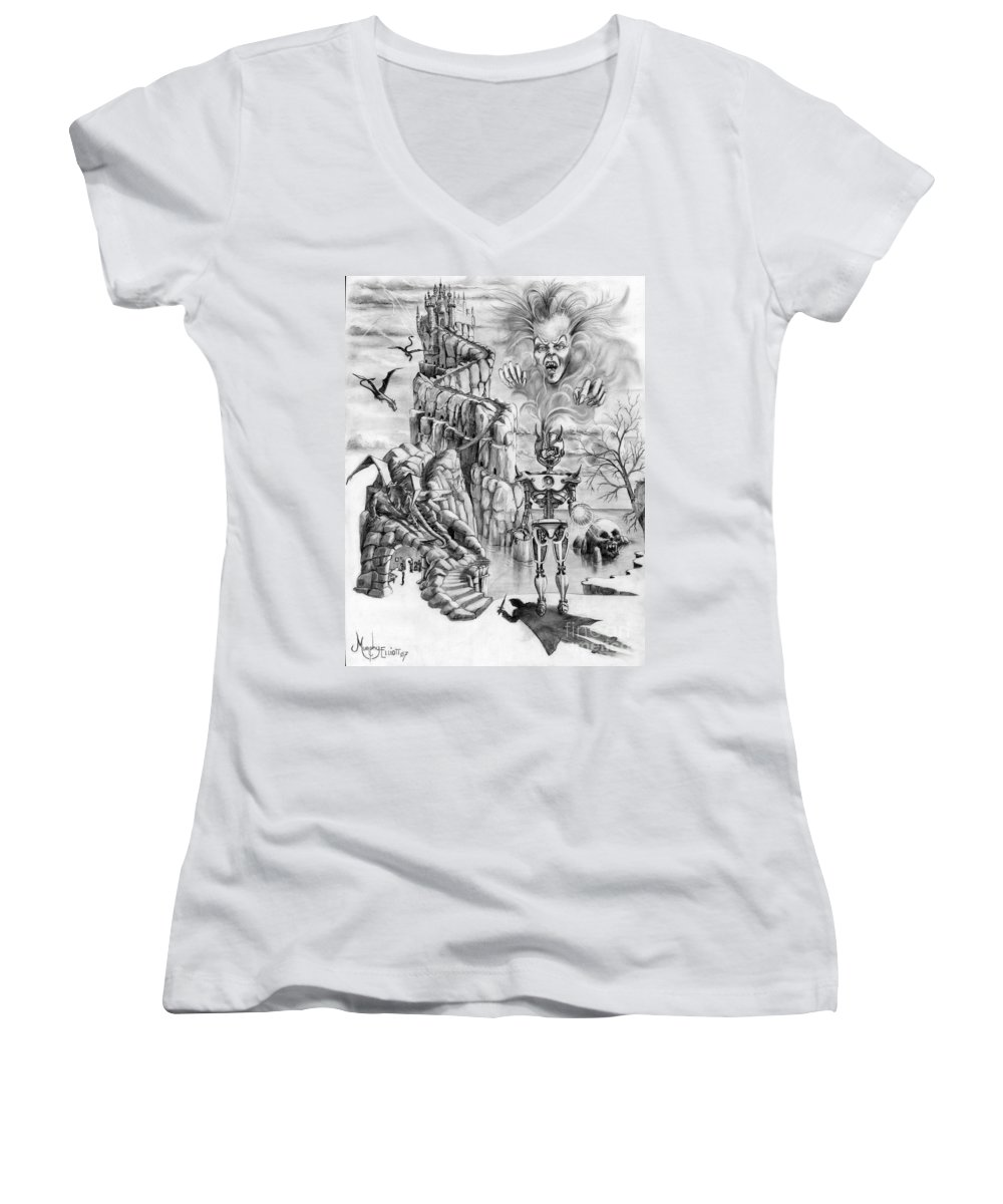 Witch Women's V-Neck (Athletic Fit) featuring the drawing Witch Hunter by Murphy Elliott