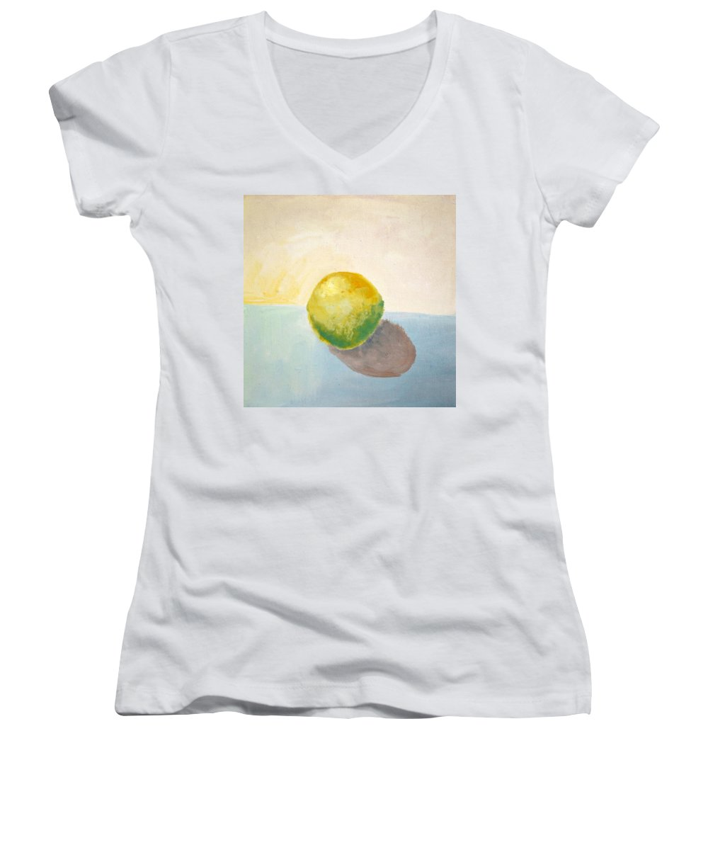 Lemon Women's V-Neck (Athletic Fit) featuring the painting Yellow Lemon Still Life by Michelle Calkins