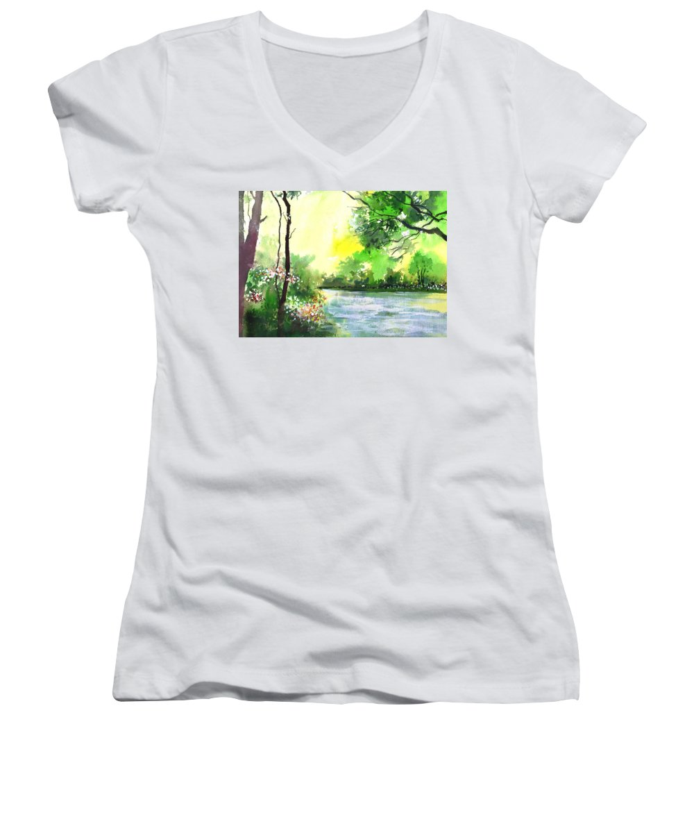 Sky Women's V-Neck (Athletic Fit) featuring the painting Yellow Sky by Anil Nene