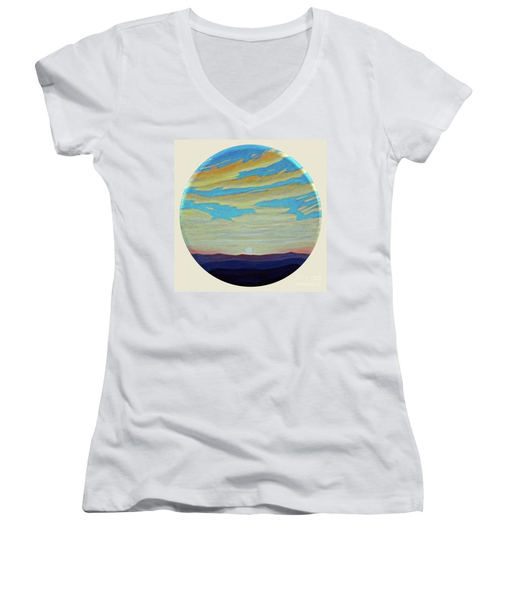 Landscape Women's V-Neck T-Shirt featuring the painting Yesterday by Brian Commerford