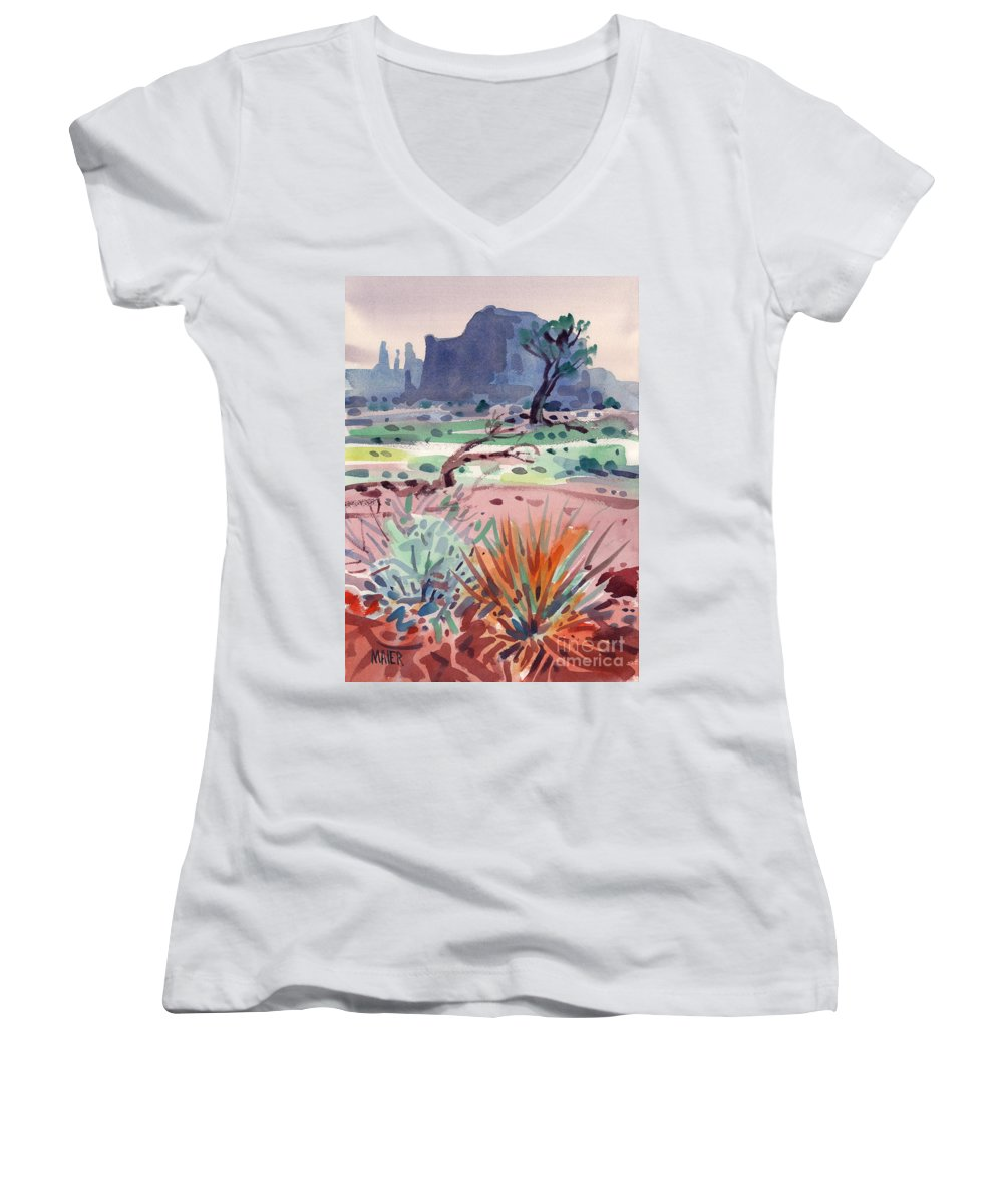 Monument Valley Women's V-Neck (Athletic Fit) featuring the painting Yucca And Buttes by Donald Maier