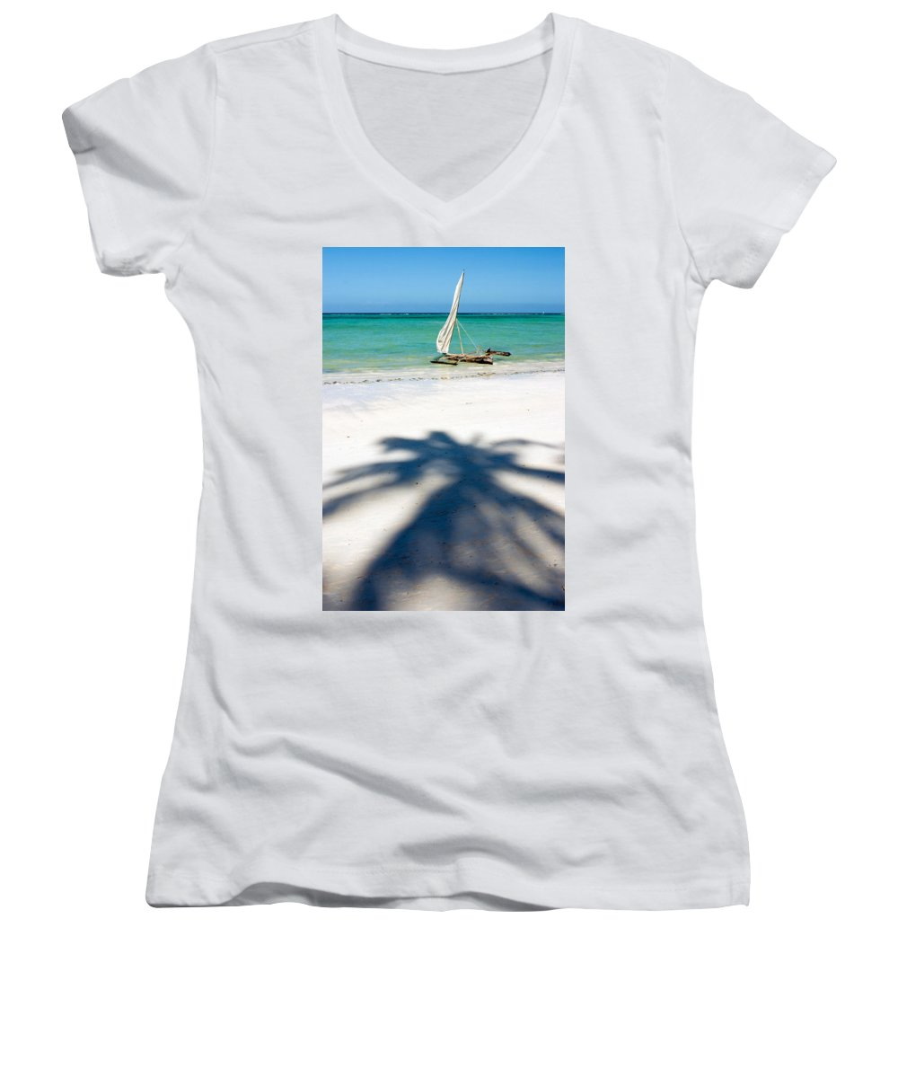 3scape Photos Women's V-Neck T-Shirt featuring the photograph Zanzibar Beach by Adam Romanowicz