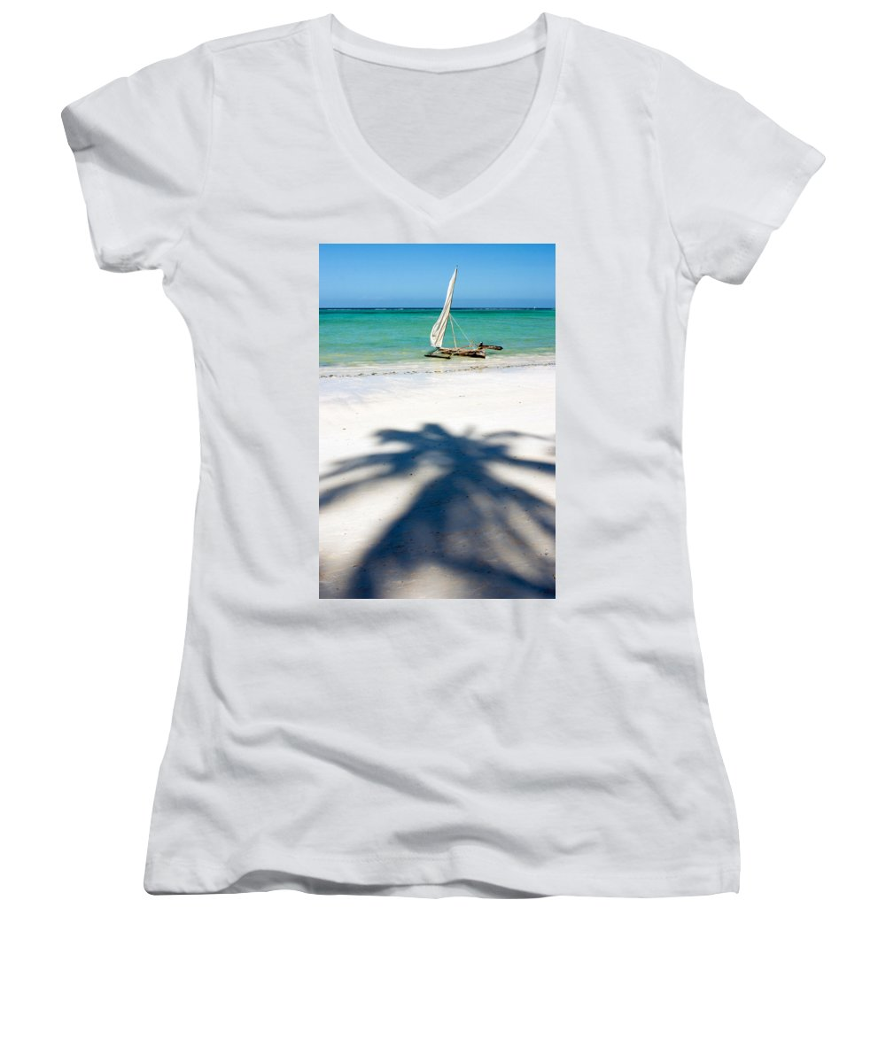 3scape Women's V-Neck (Athletic Fit) featuring the photograph Zanzibar Beach by Adam Romanowicz