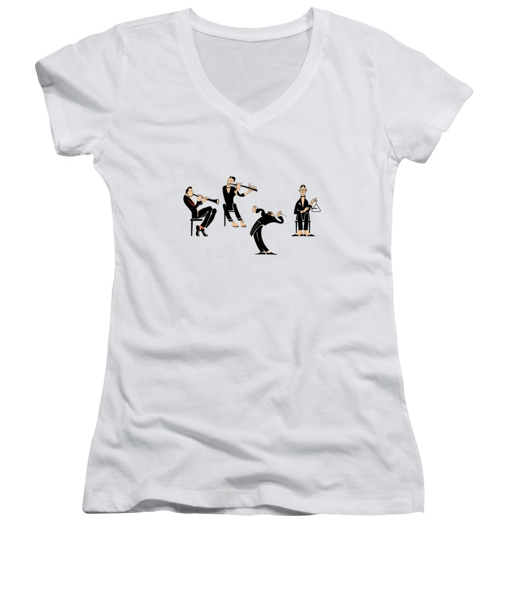 Jazz Band Photographs Women's V-Neck T-Shirts