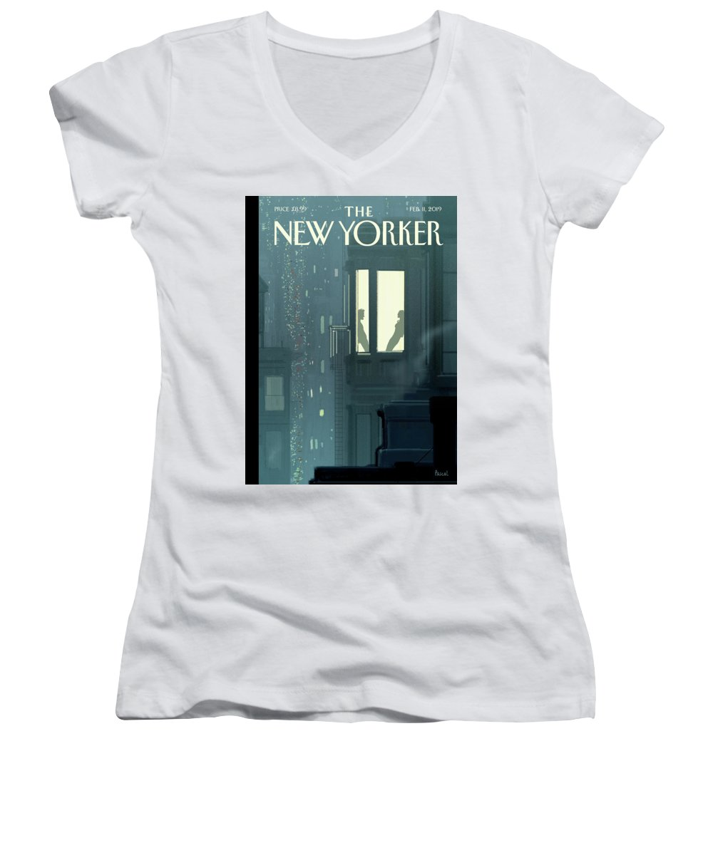 Love Interest Women's V-Neck featuring the painting Love Interest by Pascal Campion